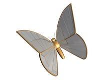 A borboleta do ouro 3d do metal chromeplated Foto de Stock Royalty Free