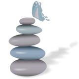 Borboleta dos termas na pilha de pedras lisas Imagens de Stock Royalty Free