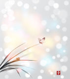 Borboleta e caracol pequeno nas folhas da grama Imagem de Stock Royalty Free
