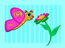 Borboleta e flor bonita Fotos de Stock Royalty Free