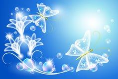 Borboleta e flores Imagens de Stock Royalty Free