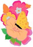 Borboleta e flores Fotografia de Stock Royalty Free
