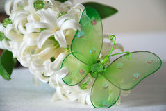 Borboleta e hyaicnth branco 2 Fotos de Stock Royalty Free