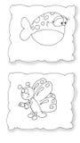 Borboleta e lombo animado dos peixes que colorem crianças cômicos para livros ilustração do vetor