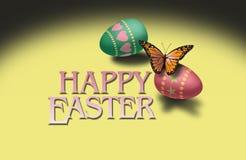 Borboleta e ovos da páscoa coloridos Fotos de Stock