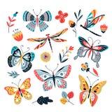 Borboleta em flores As borboletas traça das libélulas do inseto e a mão tirada, vetor da flor do esboço isolaram o grupo ilustração royalty free