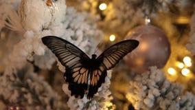 Borboleta em um close-up da árvore de Natal filme