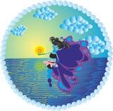 Borboleta em um mar ilustração stock