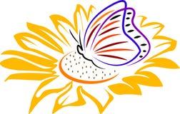 Borboleta em uma flor ilustração stock