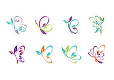 a borboleta, logotipo, beleza, termas, relaxa, ioga, estilo de vida, borboletas abstratas ajustadas do projeto do vetor do ícone  Imagens de Stock Royalty Free
