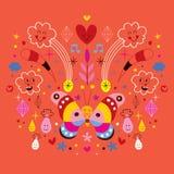 Borboleta, nuvens, flores, diamantes, ilustração do vetor da harmonia da natureza dos desenhos animados dos pingos de chuva Foto de Stock