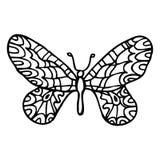 Borboleta ornamentado decorativa da garatuja preta isolada no backg branco Imagem de Stock Royalty Free