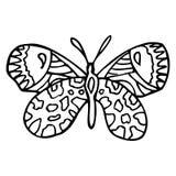 Borboleta ornamentado decorativa da garatuja preta isolada no backg branco Imagens de Stock