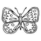 Borboleta ornamentado decorativa da garatuja preta isolada no backg branco Fotografia de Stock Royalty Free