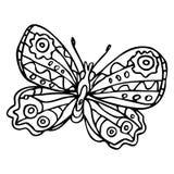 Borboleta ornamentado decorativa da garatuja preta isolada no backg branco Imagens de Stock Royalty Free