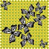 Borboleta preto e branco de vibração no fundo verde-amarelo Fotos de Stock Royalty Free