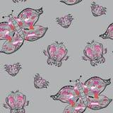 Borboleta sem emenda do ornamental do teste padrão da ilustração Fotos de Stock Royalty Free