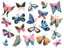 Borboleta tirada mão Borboletas da flor, asas da traça e coleção isolada colorida do vetor do inseto de voo da mola ilustração do vetor