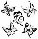 Borboletas brancas pretas ajustadas de um tatuagem ilustração do vetor
