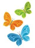 Borboletas coloridas - jogo de 3 Fotos de Stock