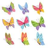 Borboletas das cores da aquarela isoladas no fundo branco A borboleta bonita do vetor ajustou-se com a paleta da mola para a cria ilustração royalty free