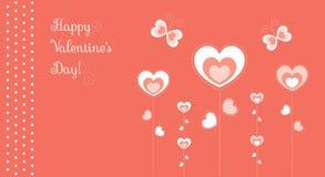 Borboletas das flores dos corações vermelhas Foto de Stock Royalty Free