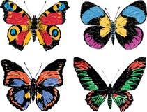 borboletas desenhadas mão Fotos de Stock Royalty Free