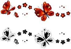 Borboletas do vermelho & do ouro & flores [vetor] Fotografia de Stock