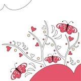 Borboletas e corações Imagem de Stock