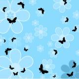 Borboletas e flores ilustração do vetor