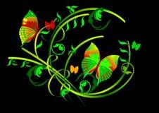 Borboletas e rolos florais no fundo preto ilustração stock