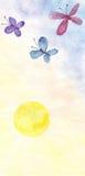 Borboletas e sol amarelo ilustração royalty free