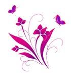 Borboletas e um teste padrão de flor Fotografia de Stock Royalty Free