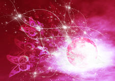 Borboletas em uma noite moonlit vermelha Imagens de Stock Royalty Free