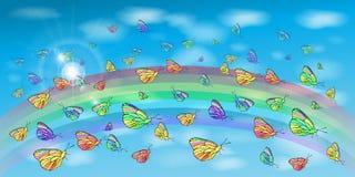 Borboletas no céu e em um arco-íris ilustração stock