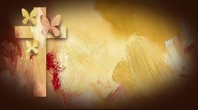 Borboletas perdoadas da mancha de sangue da cruz de calvário Fotografia de Stock