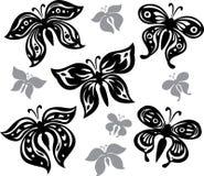 Borboletas preto e branco Ilustração Stock