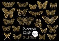 Borboletas que tiram o grupo do vetor, isolado, emblema das asas da inserção da coleção do estilo do esboço imagens de stock