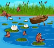 Borboletas que voam sobre o lago entre os lírios de florescência Fotos de Stock Royalty Free