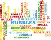Borbulha o conceito multilíngue do fundo do wordcloud Foto de Stock Royalty Free