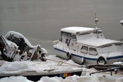 Borcea -го река 13 в январе холодное Стоковые Фото