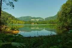 Borcka Black Lake-4. You can see the every tone of the green color.here is in Artvin/TURKEY Royalty Free Stock Photo