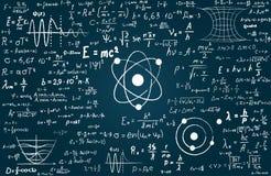 Bord dat met wetenschappelijke formules en berekeningen in fysica en wiskunde wordt ingeschreven Kan wetenschappelijk illustreren vector illustratie