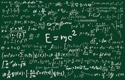 Bord dat met wetenschappelijke formules en berekeningen in fysica en wiskunde wordt ingeschreven Kan wetenschappelijk illustreren stock illustratie