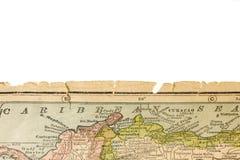 Bord de carte antique estampé en 1926 - expert en logiciel des Caraïbes Image stock