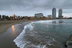 Bord de la mer à Barcelone Images libres de droits