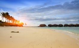 Bord de la mer avec des palmiers sur l'île et les maisons tropicales au-dessus de l'eau Photographie stock libre de droits