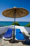 bord de la mer de parasol Photo libre de droits