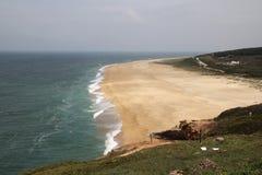 Bord de la mer en Nazare, Portugal Photographie stock libre de droits