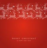 Bord de los elementos de las decoraciones del reno de la Feliz Navidad Fotografía de archivo libre de regalías